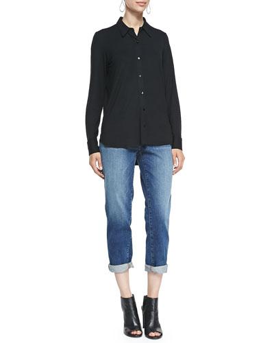 High-Low Button-Front Shirt & Stretch Boyfriend Jeans