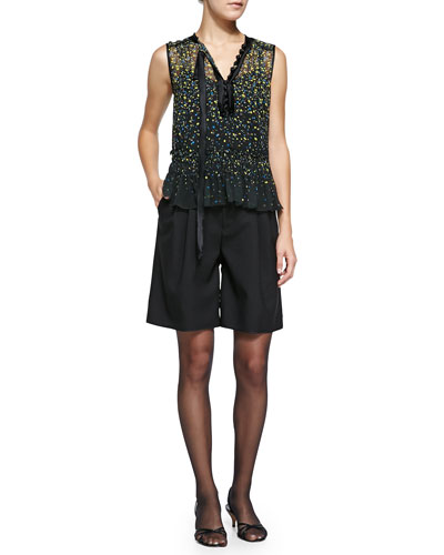 Sleeveless Floral Blouse W/ Asymmetric Tie & High-Waist Pleated Wide-Leg Shorts