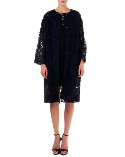 Lace Topper Coat & Sleeveless Lace Dress with Organza Pleats