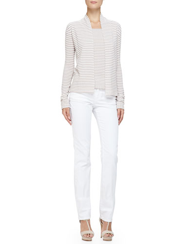 No-Closure Stripe Knit Cardigan, Cap-Sleeve Scoop-Neck Striped Top & ...