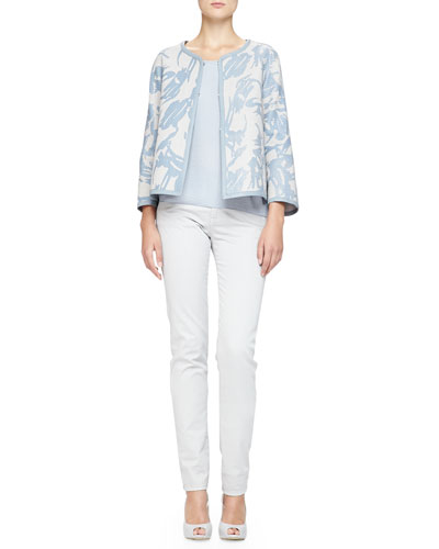 Interwoven Printed Leather Jacket, Plisse Georgette Tank & Brushed Cotton ...