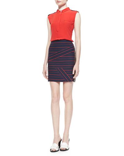 Sleeveless Collared Silk Blouse & Striped Side-Zip Knit Skirt