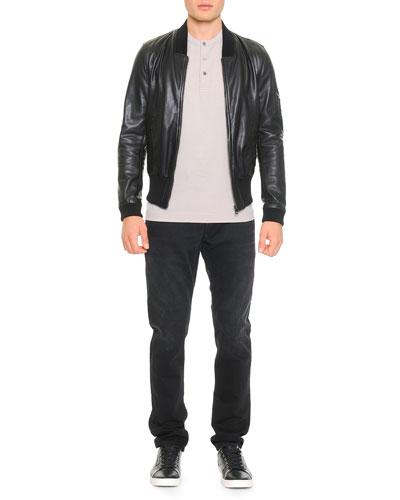 Leather Bomber Jacket, Short-Sleeve Henley T-Shirt & Destroyed Washed Denim ...