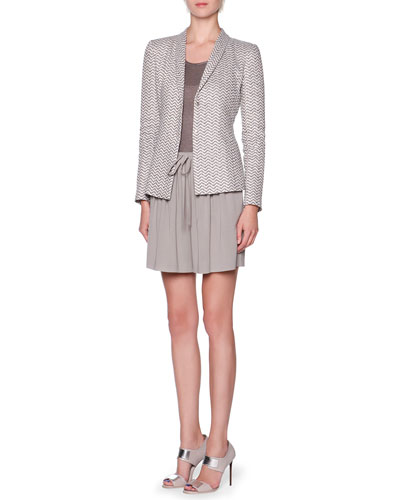 Exaggerated-Chevron Shawl-Collar Jacket, Overszied Short-Sleeve Knit Tunic ...