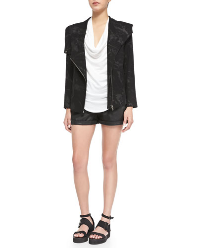 Tera Printed Front-Zip Sweater Jacket, Feather-Jersey Tee & Abrade Coated ...