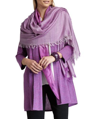 Alpaca Long Cardigan, Whisper Silk Ombre Kerchief Scarf & Straight-Leg ...