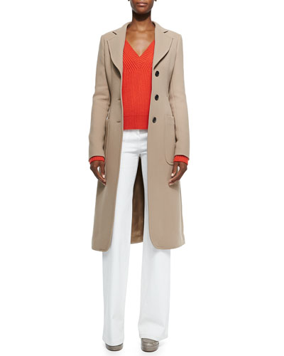 Brushed Double-Face Crepe Coat, Cashmere V-Neck Cable-Knit Sweater & ...