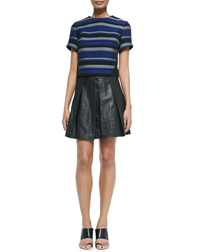 Stripe-Front Crewneck Crop Top & Pleated Leather A-Line Skirt