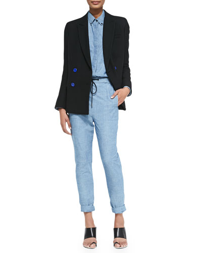 Double-Breasted Blazer, Long-Sleeve Chambray Tunic & Pants
