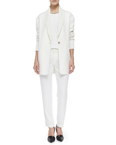 Shawl-Collar Knit Blazer Cardigan, Mixed-Media Trimmed Tee & Satin-Striped ...