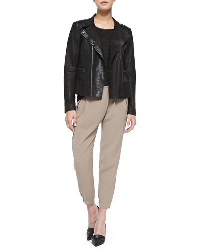 Shiny/Matte Asymmetric Moto Jacket, Piped Relaxed Linen Tee & Leather-Trim Wrap-Waist Pants