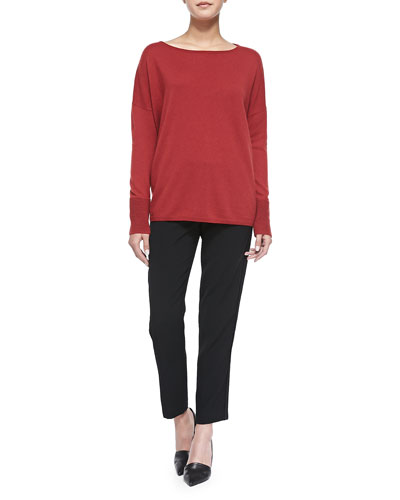 Boat-Neck Sweater W/ Ottoman Cuffs & Easy Trousers with Satin Binding