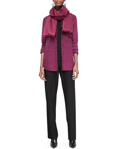 Organic Linen-Cotton Slub Cardigan, Silk Jersey Long Slim Camisole, ...