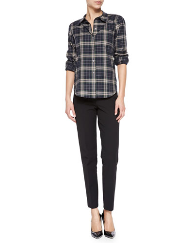 Perfect Plaid Improvise Button-Down Shirt & Belisa Slim Cropped Twill Pants