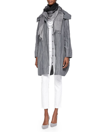 Rumpled Metallic Cotton Cocoon Coat, Wool Check Sparkle Scarf, Fine Gauge ...