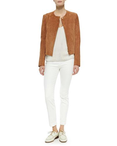 Suede Hidden-Zip Jacket, Pointelle V-Neck Sweater & Stretch-Denim Leggings
