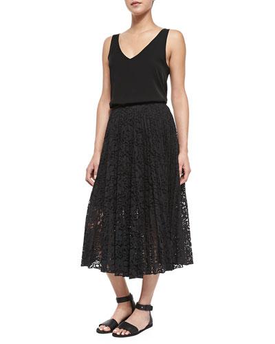 Martosh V-Neck Sleeveless Silk Top & Zeyn Pleated Lace A-Line Skirt