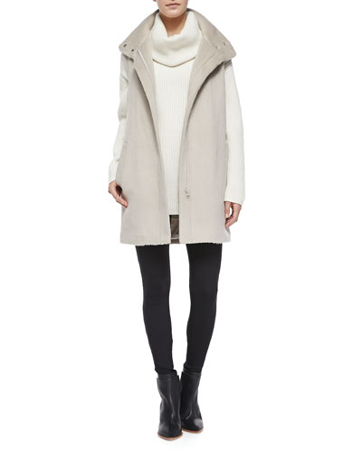 Snap-Neck Long Fuzzy Vest, Naven Loryelle Ribbed Turtleneck Sweater & Pail ...