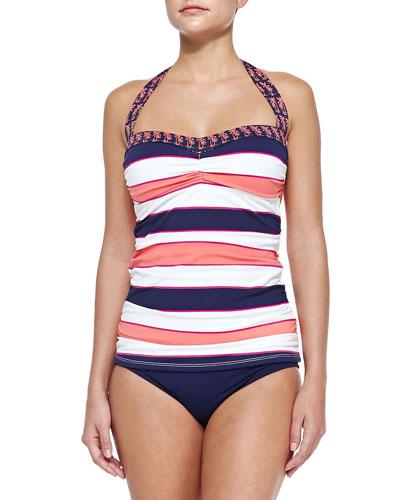 Striped/Printed Halter Tankini Top & Hipster Swim Bottom
