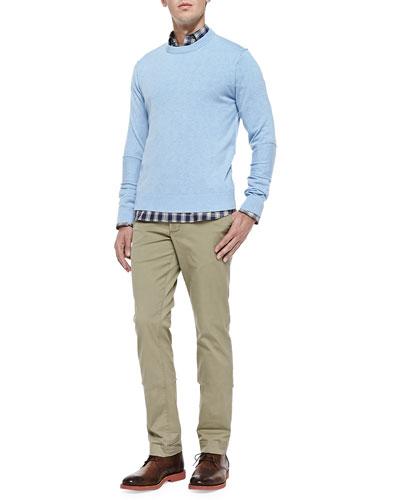Cashmere Raw-Seam Sweater, Frederick Plaid Shirt & Stretch-Twill Chino Trousers