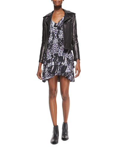 Wenda Studded Lambskin Moto Jacket & Frigye Printed Tiered-Skirt Dress