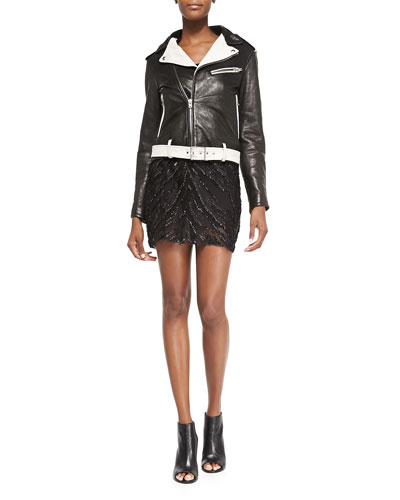 Wamiel Contrast-Trim Leather Jacket & Orelie Beaded Sleeveless Chiffon Dress