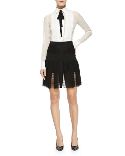 Long-Sleeve Silk Blouse with Black Tie & Pleated Lace Overlay Skirt