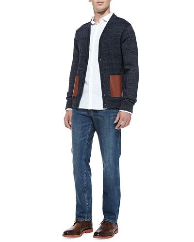Melange-Knit Cardigan with Leather Pockets, Slim-Fit Stretch-Poplin Shirt & ...