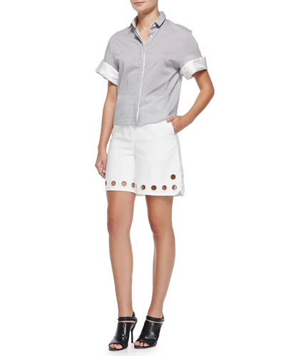 Boxy Short-Sleeve Button-Down Shirt & High-Waist Eyelet Shorts