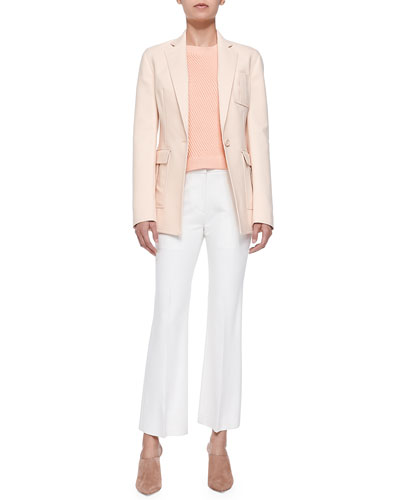 Cutaway Blazer w/ Pockets, Sleeveless Rib-Stitched Pullover & Cropped ...
