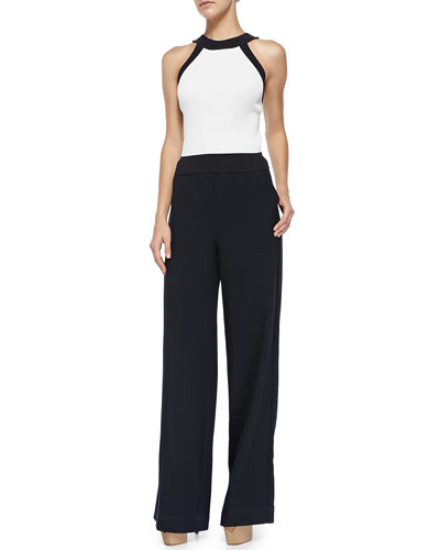 Sleeveless Tank with Trim Detail & Wide-Leg Wool Pants W/ Drawstring