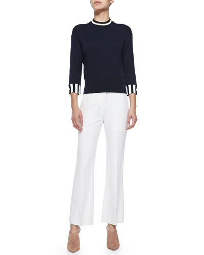 Cashmere Stripe-Trimmed Pullover & Cropped Flared Pants