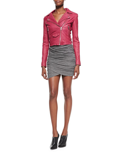 Ashville Lambskin Leather Moto Jacket & Ginger Ruched-Skirt Slub Dress