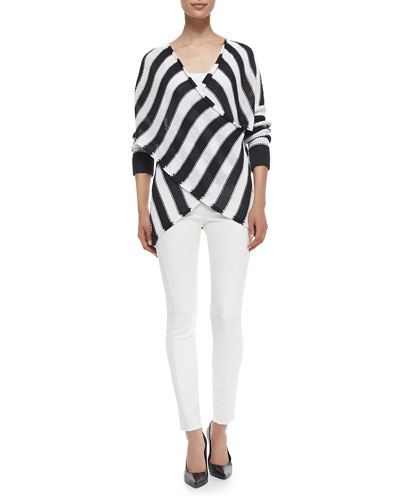 Striped Cross-Front Pullover Sweater & Seamed Raw-Edged Leggings