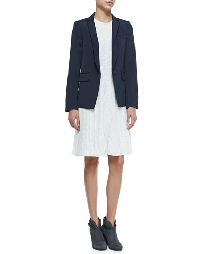 Roseberg One-Button Blazer W/ Peaked Lapels & Nettie Sleeveless Zip-Pocket ...