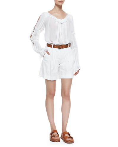 Ruffled Peasant Blouse, Pleated Trouser Shorts & Leather Loop Hip Belt