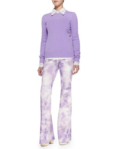 Cashmere Crewneck Sweater, Crystal/Eyelet Embellished Shirt & Tie-Dye Suede ...