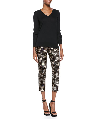 Cashmere-Blend Reverse-Cowl Sweater & Floral-Print Side-Zip Pants