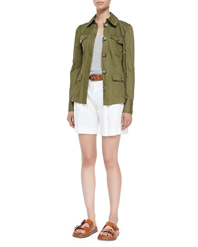 Cargo Jacket, Cashmere Tank Top, Pleated Trouser Shorts & Leather Loop Hip ...