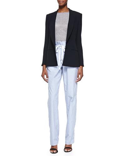 Side Vent Shawl Collar Blazer, Long-Sleeve Crewneck Top & Striped ...