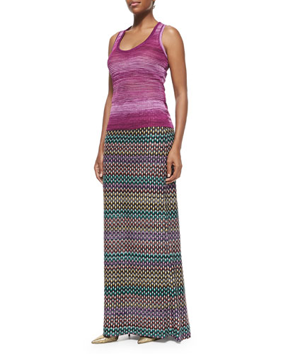 Striped Space-Dyed Tank & Textured Pull-On Maxi Skirt