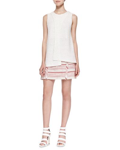 Sleeveless Crossover Crochet Top & A-Line Mini Skirt W/ Fringe Detail