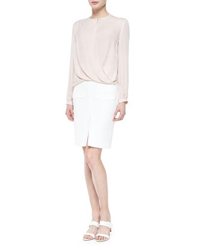 Drape-Front Long-Sleeve Silk Blouse & Two-Pocket Slit Pencil Skirt