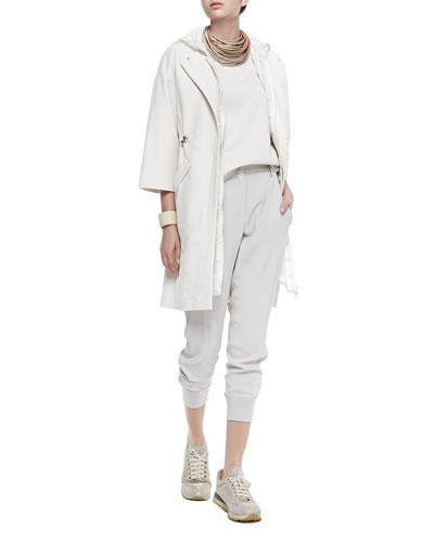 Long Zip-Front Coat, Long Hooded Check Vest, Layered Silk Crepe Tank, ...