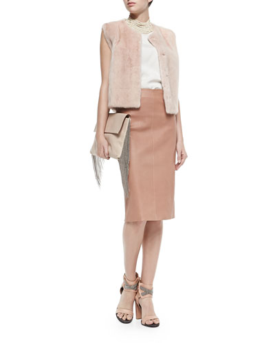 Snap-Front Mink Fur Vest, Layered Silk Crepe Tank, Leather Pencil Skirt & ...