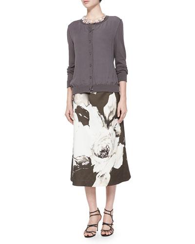 Georgette Knit Cardigan, Zarita Vintage Roses Printed Tea-Length Skirt & ...