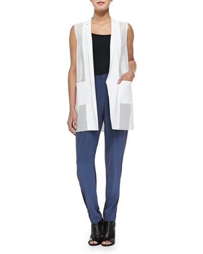 Tonya Mesh-Net Long Vest & Gemma Colorblock Silk Track Pants