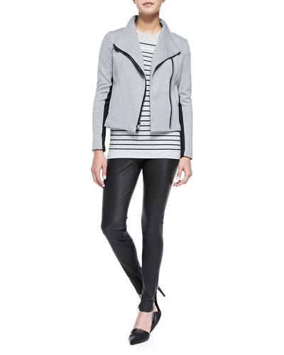 Contrast-Trim Knit Scuba Jacket, Breton-Stripe Boy Tee & Smooth Leather ...