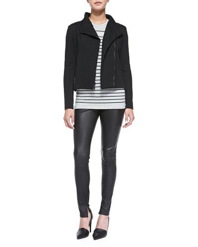 Asymmetric Scuba Jacket, Breton-Stripe Boy Tee & Smooth Leather Leggings