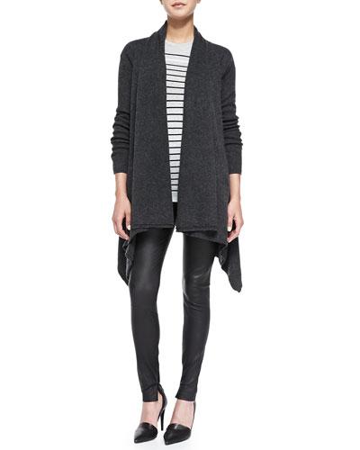 Draped Open-Front Cardigan, Breton-Stripe Boy Tee & Smooth Leather Leggings